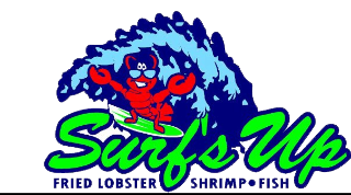 Surf's Up logo that links to restaurant's website