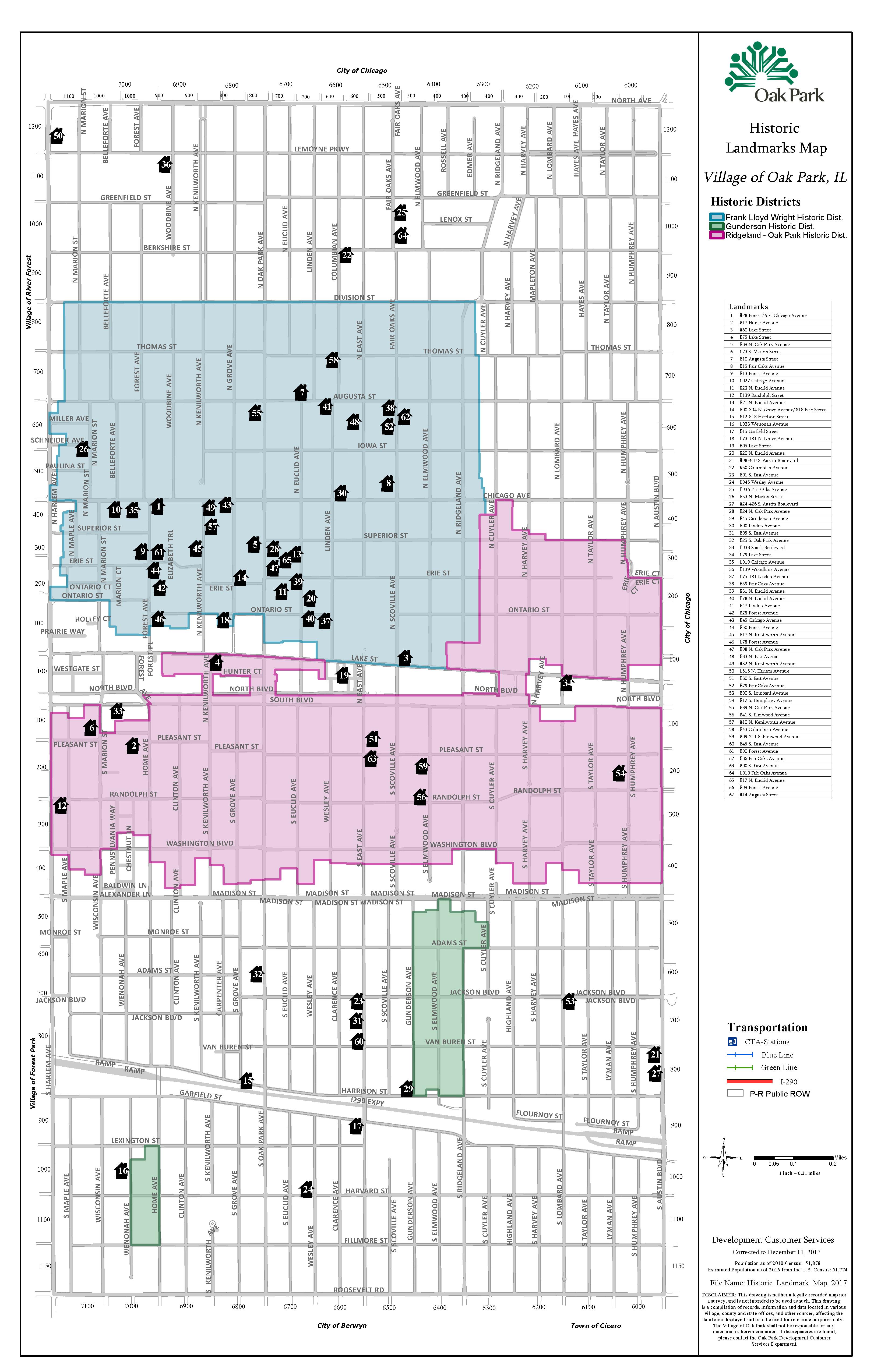 Historic District Boundaries Village Of Oak Park