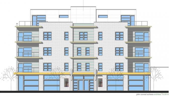 Artists rendering of the condo building planned for the southwest corner of Maple and Chicago avenues.