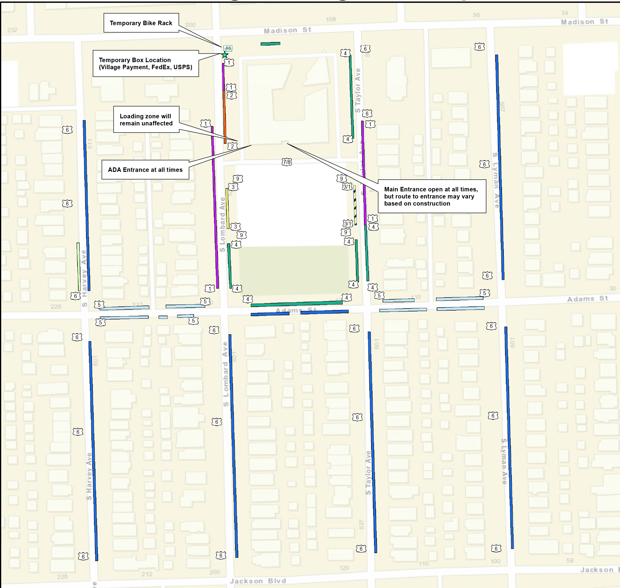 link to map of parking locations during Village Hall reconstruction project